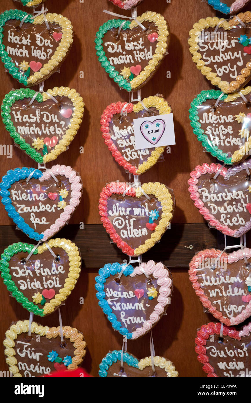 German Gingerbread Hearts Candy At The Christkindle Christmas Market
