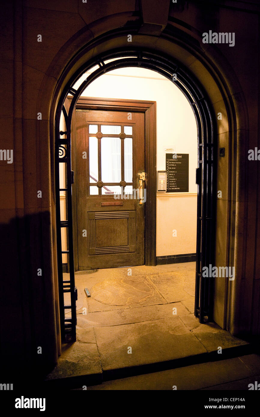 Arched doorway to a staircase, Peterhouse College, Cambridge UK - Stock Image