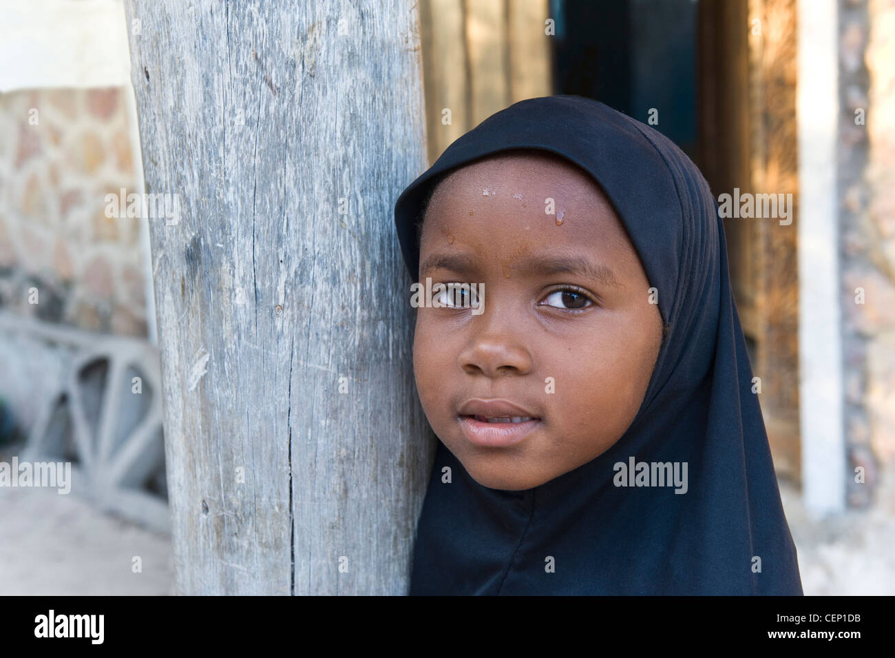 Muslim girl from Bwejuu village east coast of Zanzibar Tanzania - Stock Image