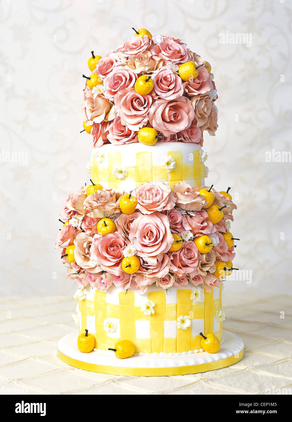 Beautiful Wedding Party Food A yellow and white fondant iced cake ...