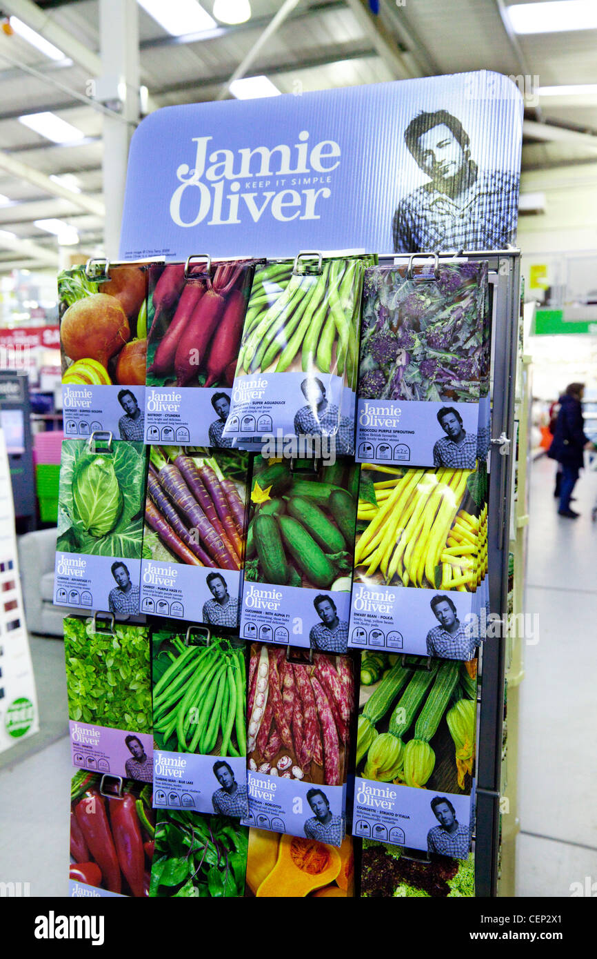 Jamie Oliver seed collection for sale, Homebase, Newmarket UK - Stock Image