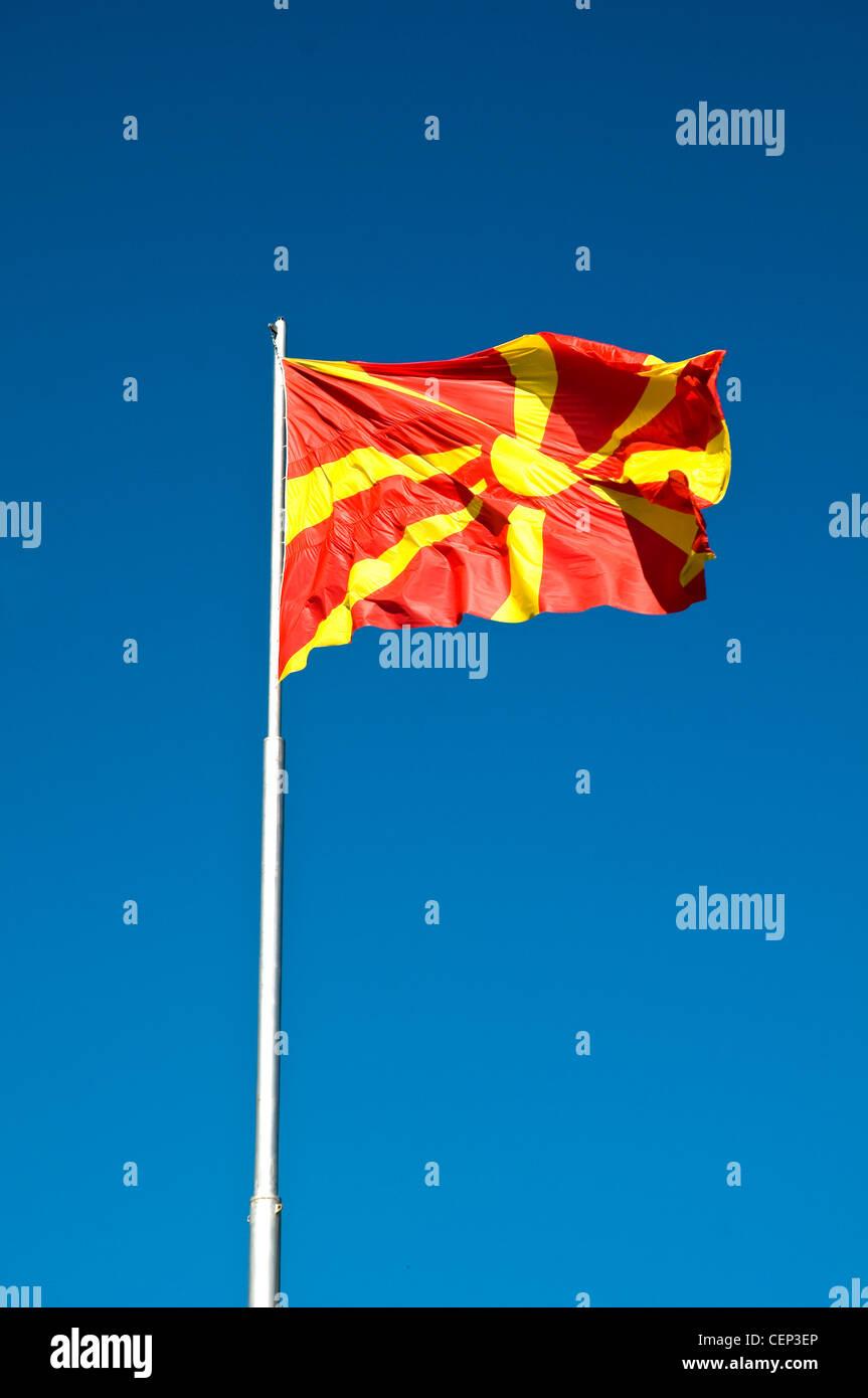 Macedonia FYROM flag at the sky - Stock Image