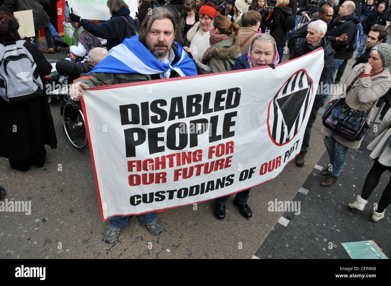 Welfare Reform Bill protest Oxford Circus London Disabled people block Regent Street Stock Photo