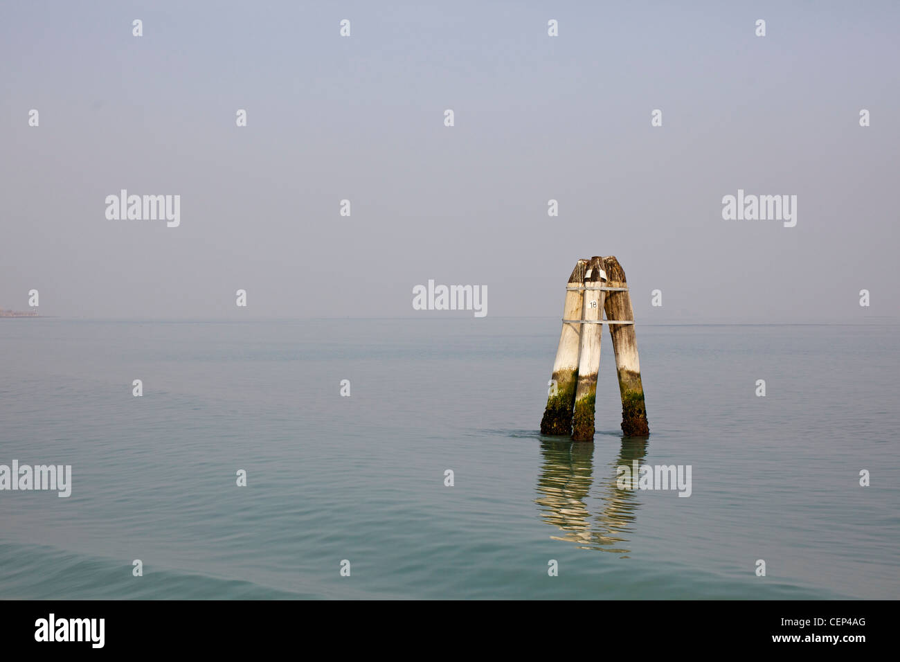 The briccole, wooden posts of European oak used to mark the navigation channels in the Venice lagoon - Stock Image