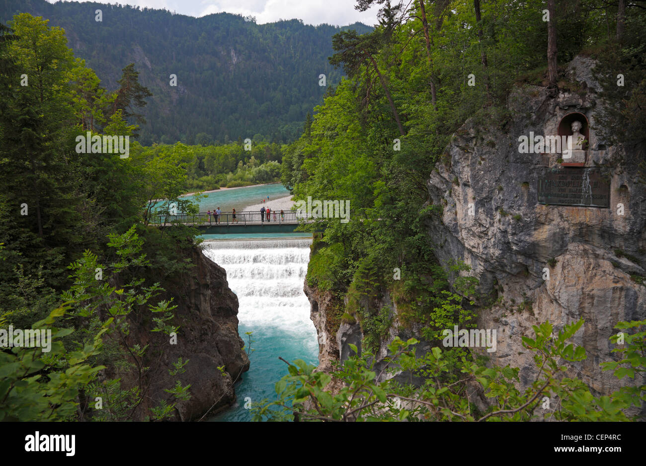 Lechfall and gorge Füssen, Bavaria, Germany. Bust of King Maximilian II of Bavaria in the mountain side. Part - Stock Image
