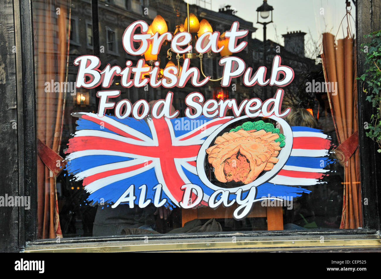 British Pub food all day pub sign English food Union Jack  flag britishness pie - Stock Image