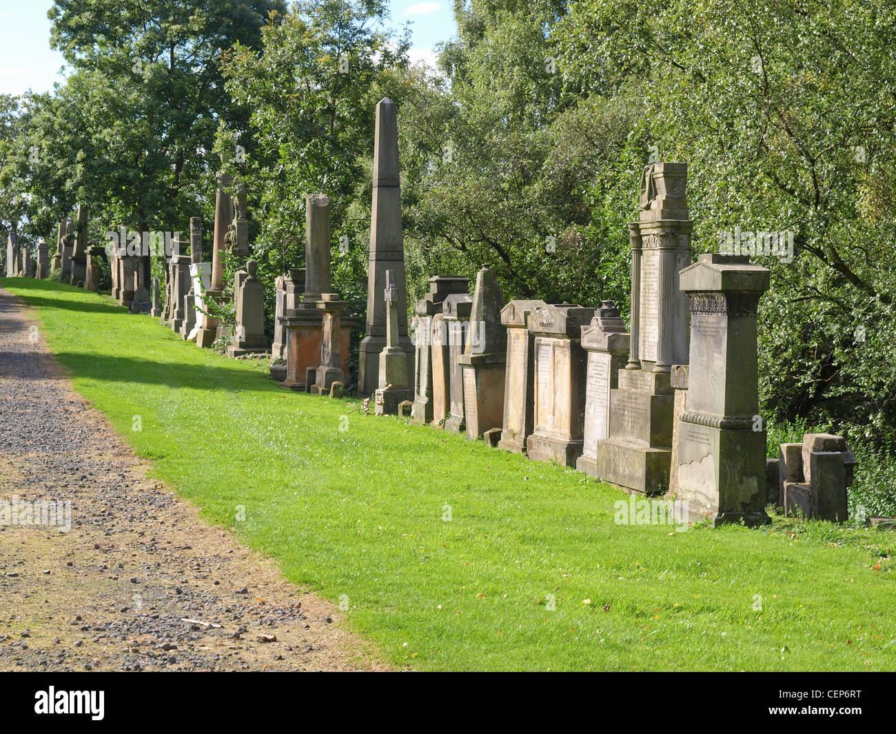 The Glasgow necropolis, Victorian gothic garden cemetery in Scotland Stock Photo