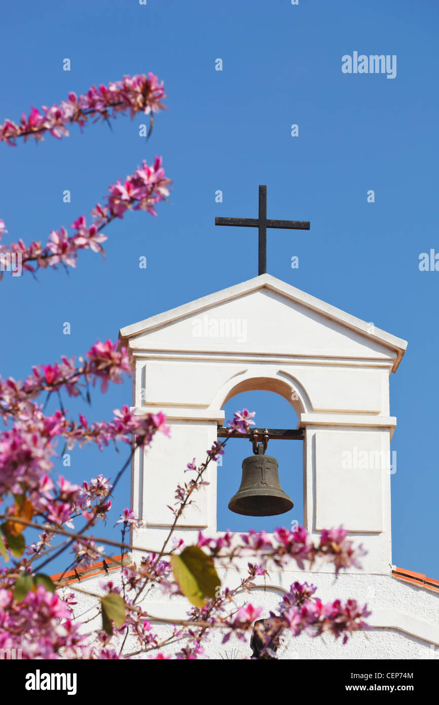 bell tower of parochial church of the immaculate conception with cherry blossom; arroyo de la miel, malaga province, - Stock Image