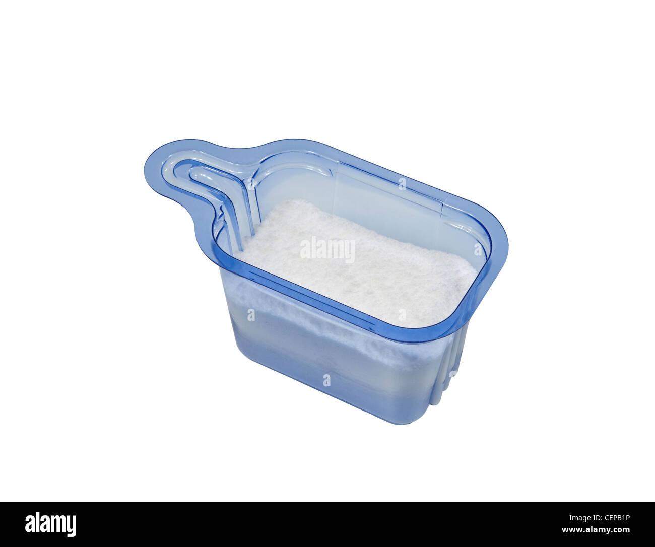 Blue plastic powdered laundry detergent isolated on white. - Stock Image