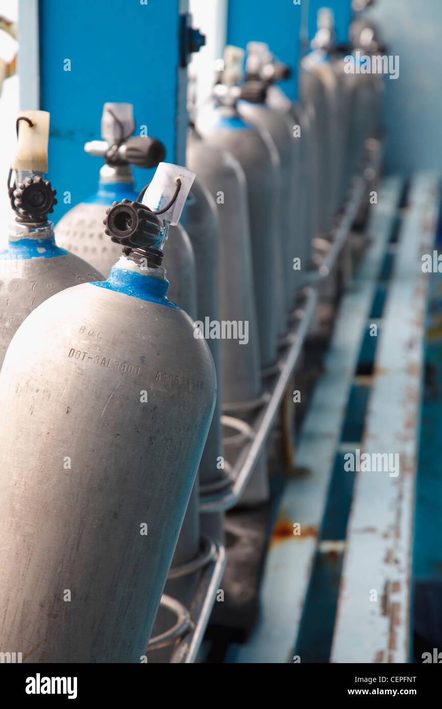 scuba tanks on a dive boat; koh tao, thailand - Stock Image
