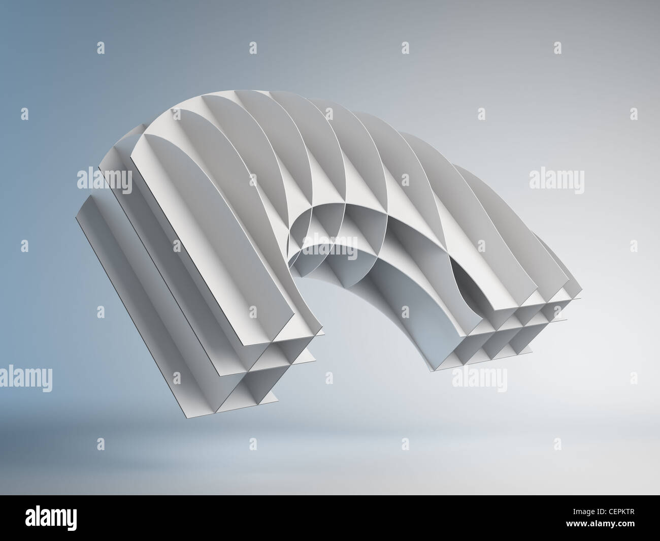 3D abstract maquette floating in mid-air Stock Photo