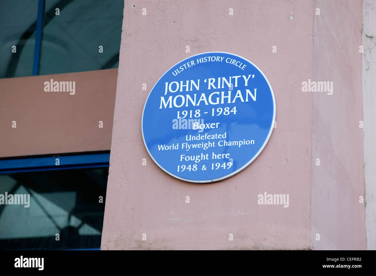 Close up of an Ulster History Circle commemorating the boxer John Monaghan. - Stock Image