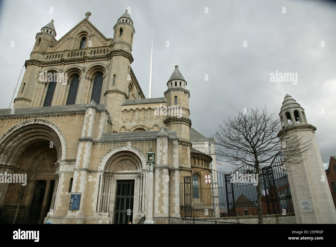 Exterior view of the front of Belfast Cathedral. - Stock Image