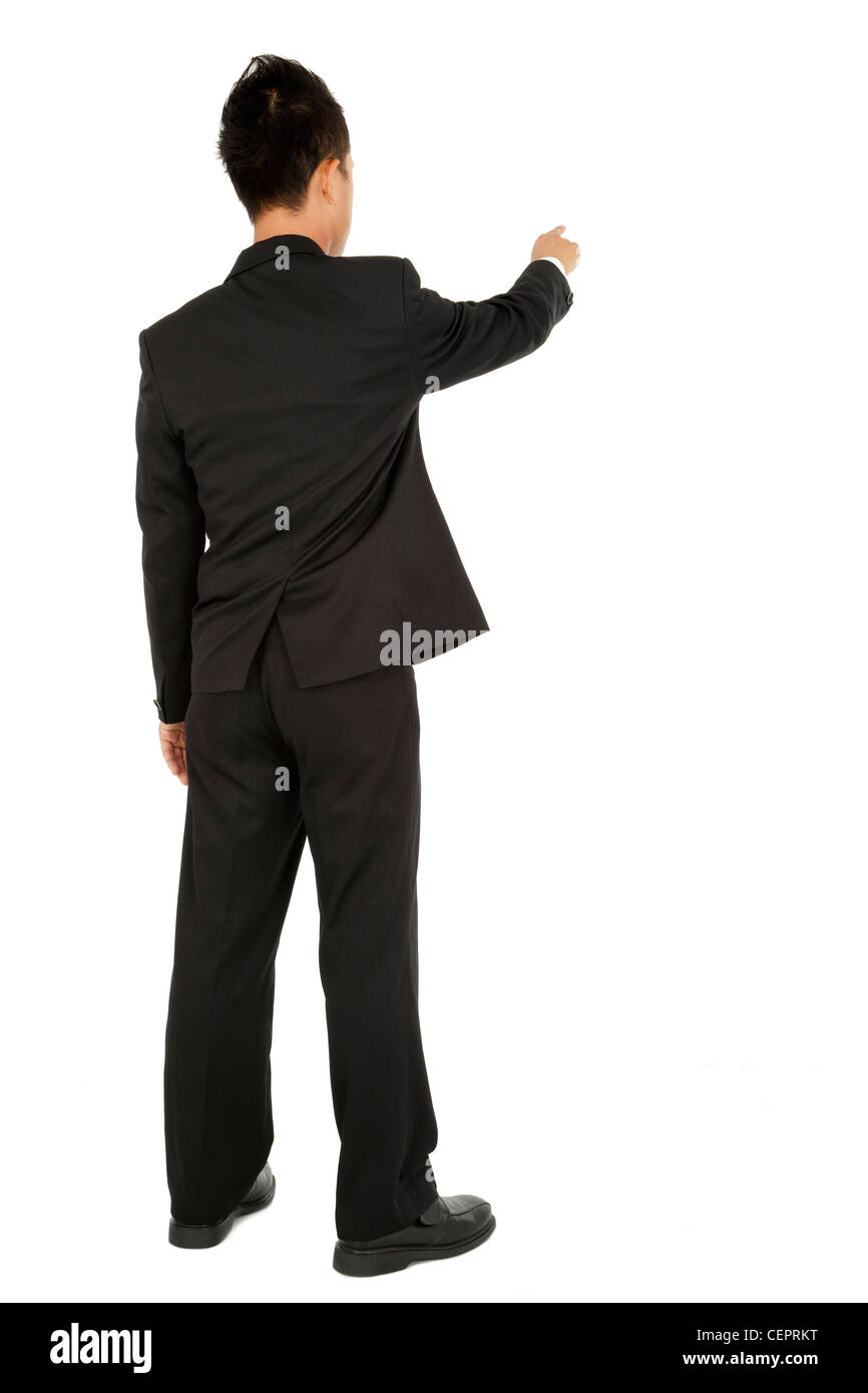 Business man pointing and touch something isolated on white background - Stock Image