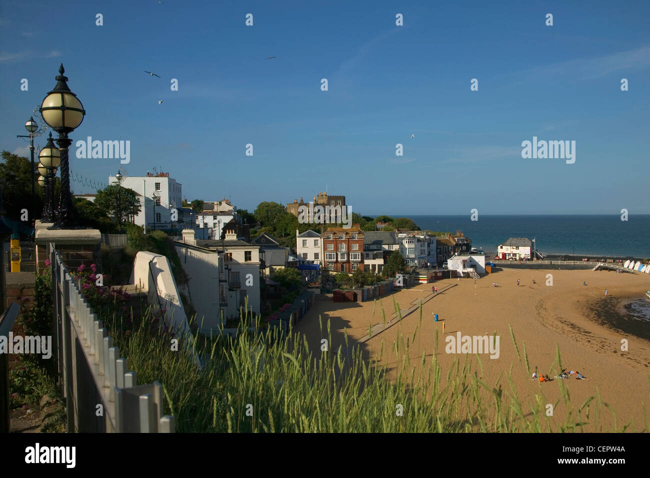A view down onto the beach at Broadstairs looking towards Bleak House, the home of Charles Dickens in Kent, in the - Stock Image