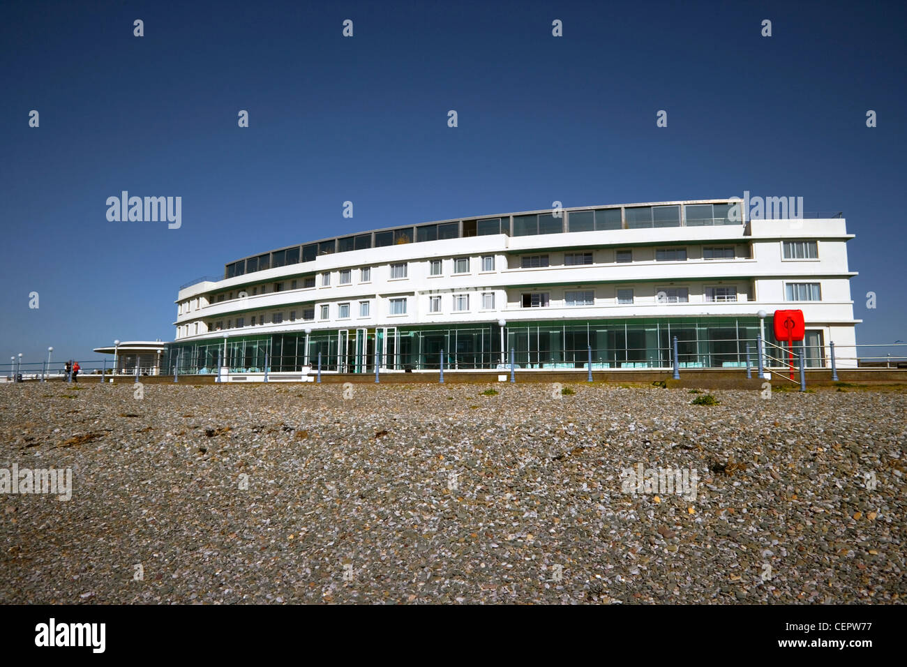 The Midland Hotel, an Art-Deco classic on the seafront in Morecambe Bay. - Stock Image