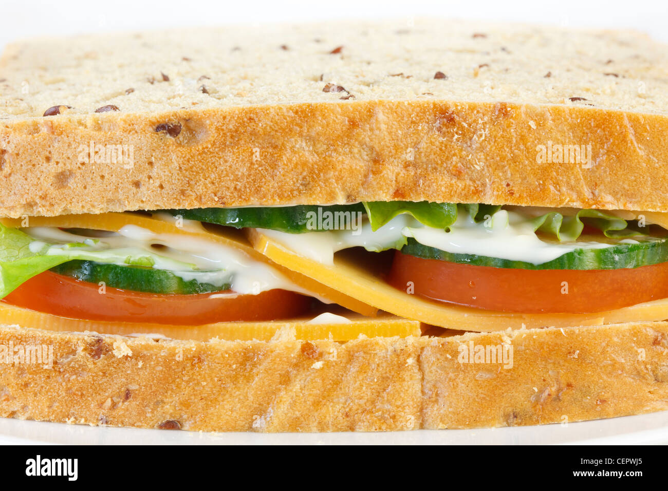 Cheese and salad sandwich - Stock Image