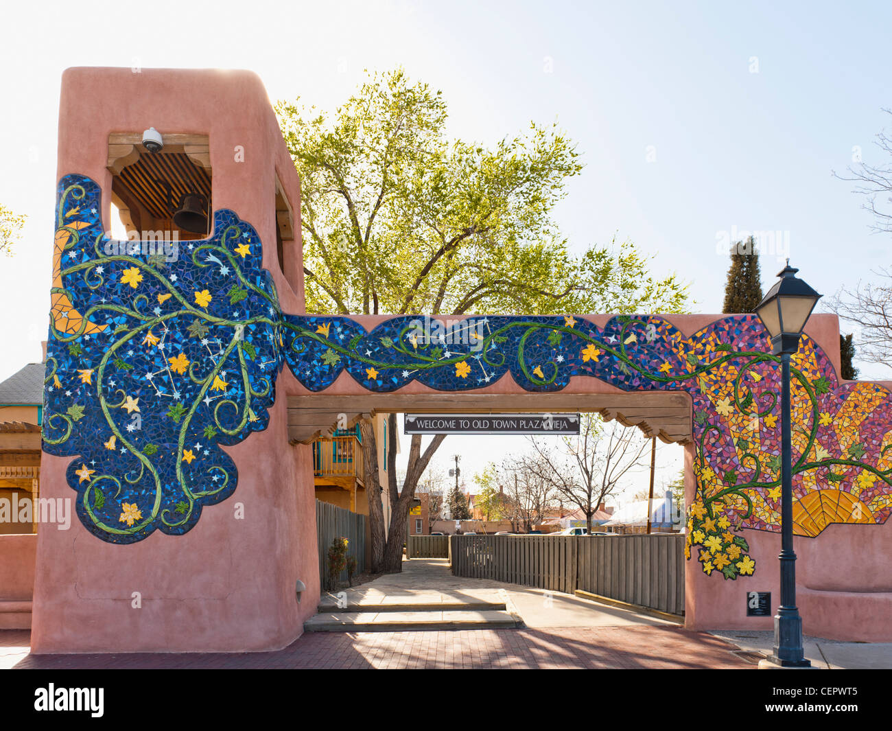 Plaza Vieja entrance, Albuquerque - Stock Image
