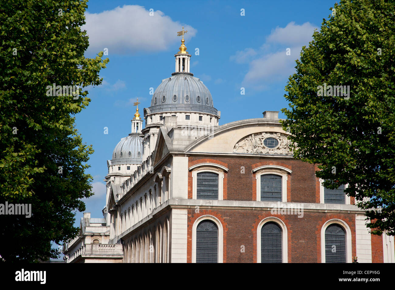 King Charles Court, part of the former Old Royal Naval College, Greenwich. The building is a Scheduled Ancient Monument - Stock Image