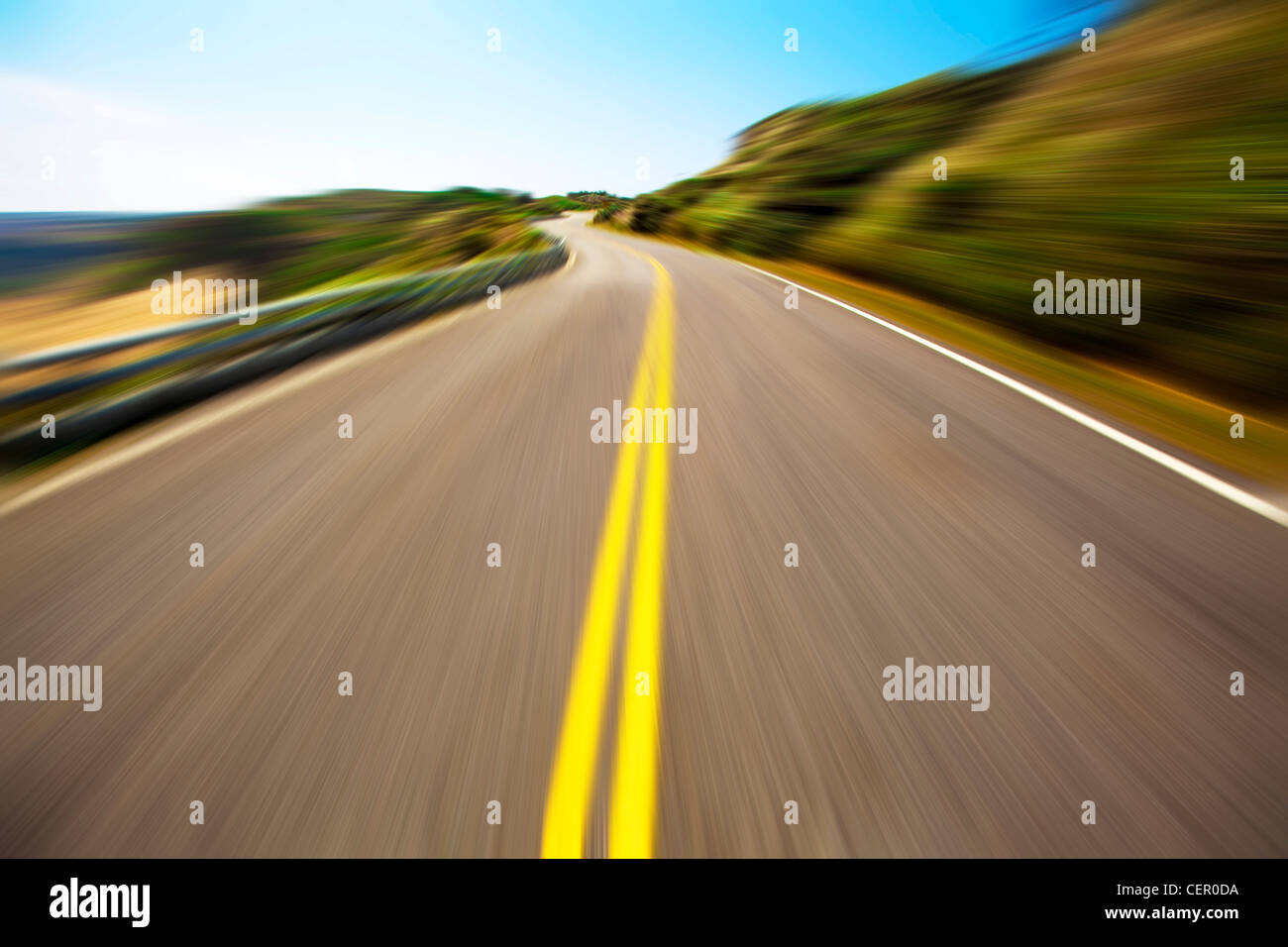 empty road and blue sky - Stock Image