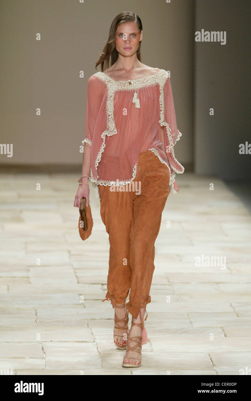 6fa01fa32b12 Givenchy Paris Ready to Wear Spring Summer Model long brunette hair and red  nail polish on
