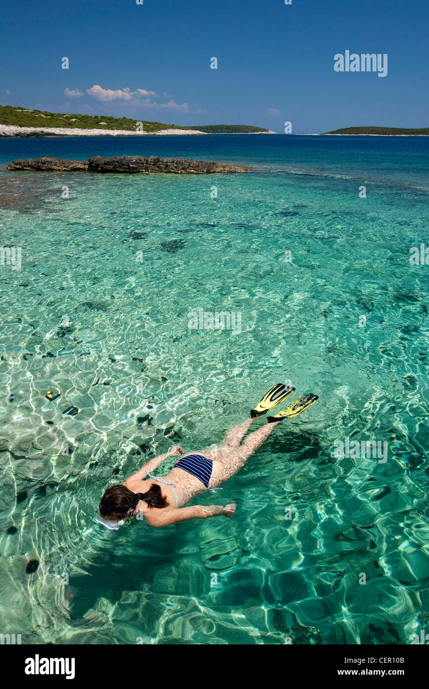 Snorkeling in Croatia, Vis Island, Adriatic Sea, Croatia - Stock Image