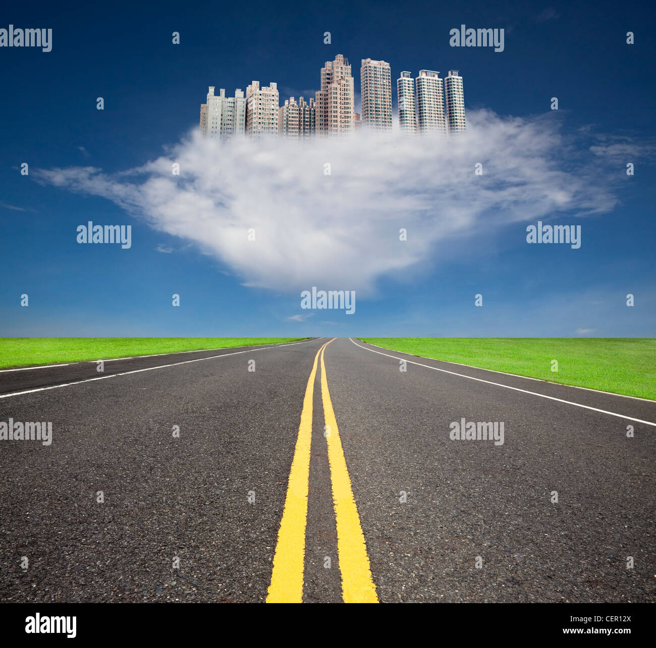 The road to the future city over the cloud - Stock Image