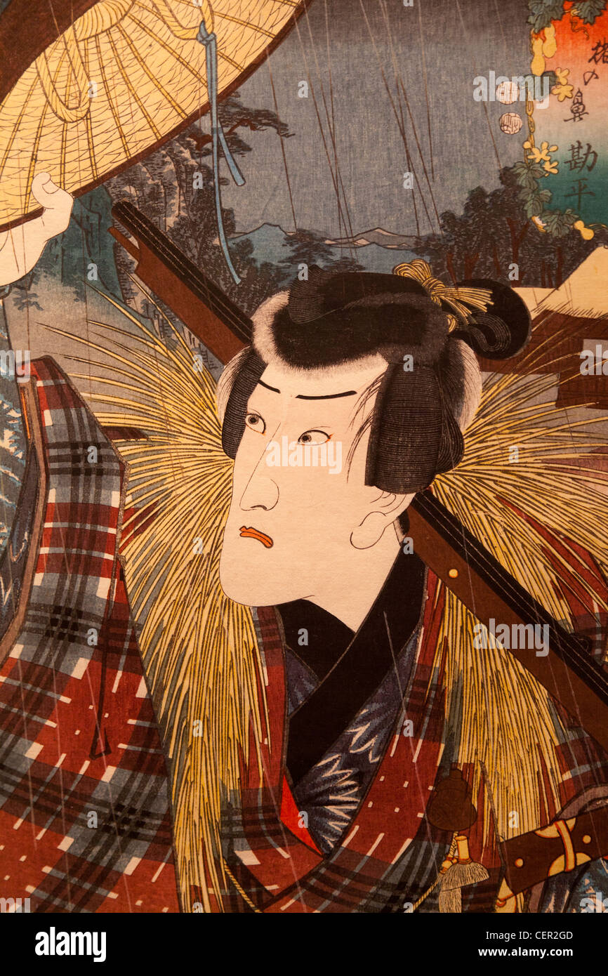 Kunisada woodblock print of famous Kabuki actors - the Ashmolean Museum Oxford - Stock Image
