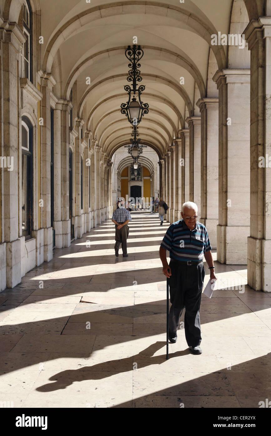 Praca do Comercio Arcade, Lisbon, Portugal - Stock Image