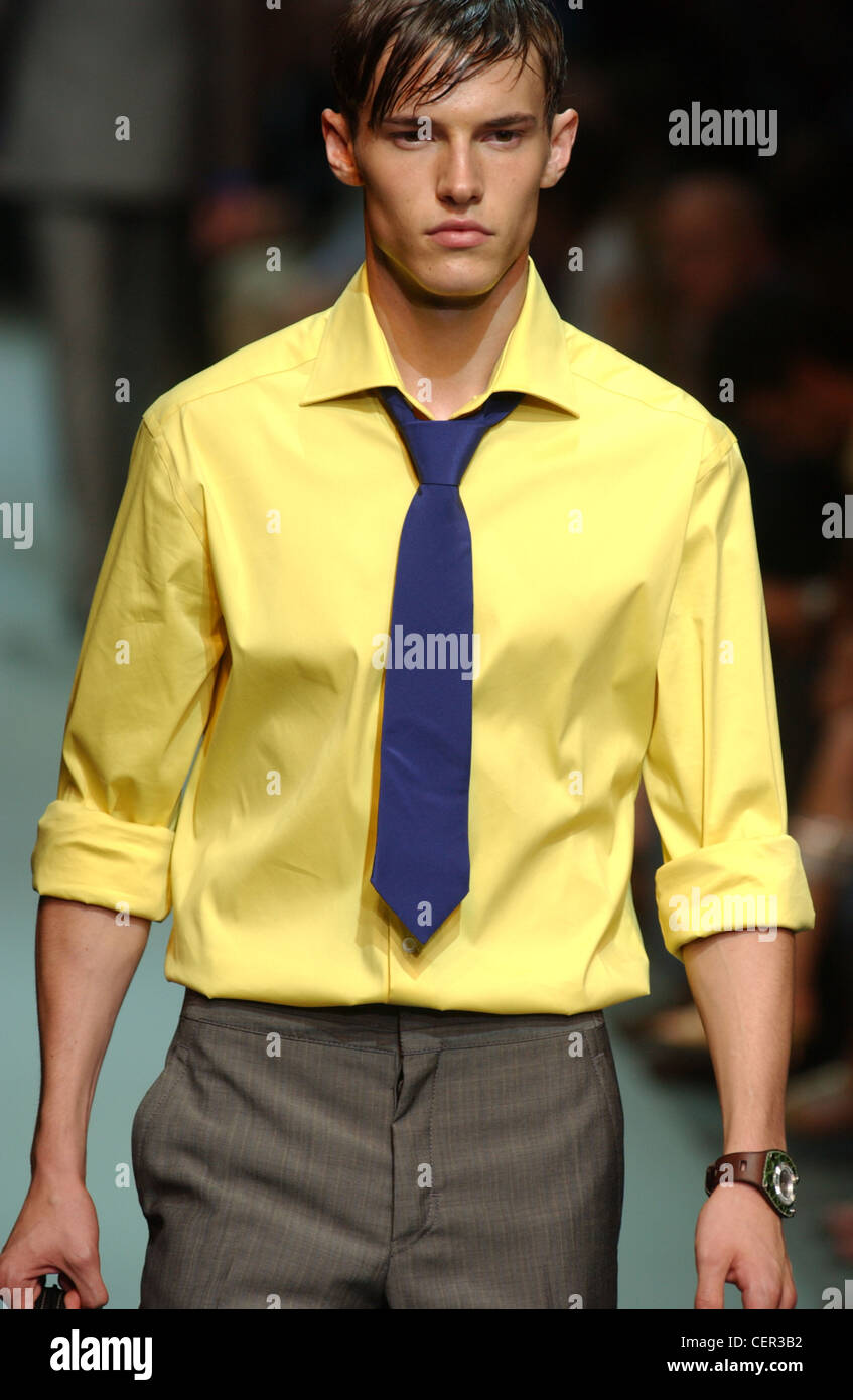 7da09d96c215 Prada Menswear Ready to Wear Spring Summer Model short brown hair wearing  yellow shirt