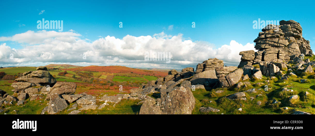 Panoramic view of Bonehill Rocks, a granite outcrop in the Dartmoor National Park. - Stock Image