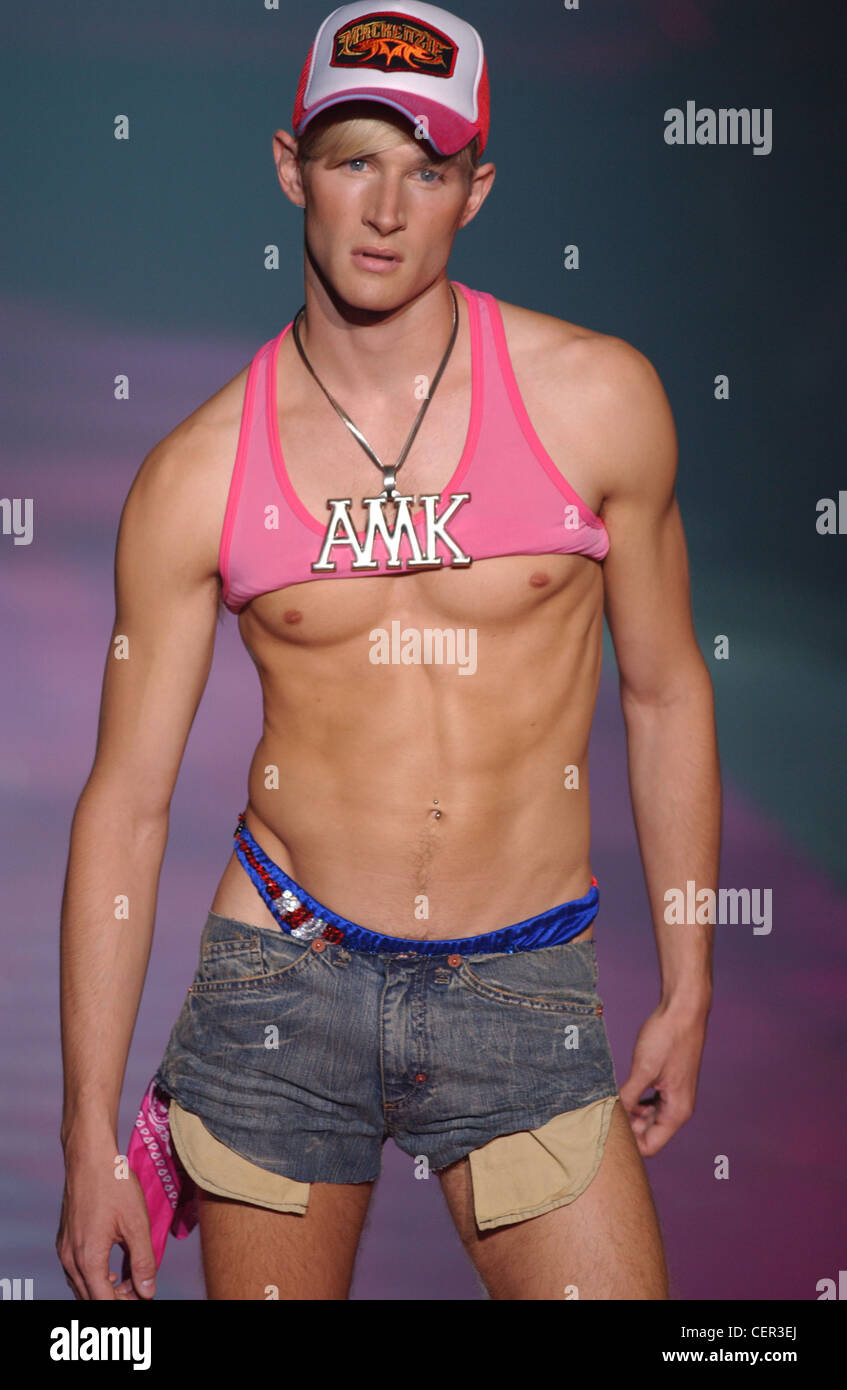 Mackenzie Menswear Ready to Wear Spring Summer Model short blond hair  wearing white and pink baseball cap 19c50012e09