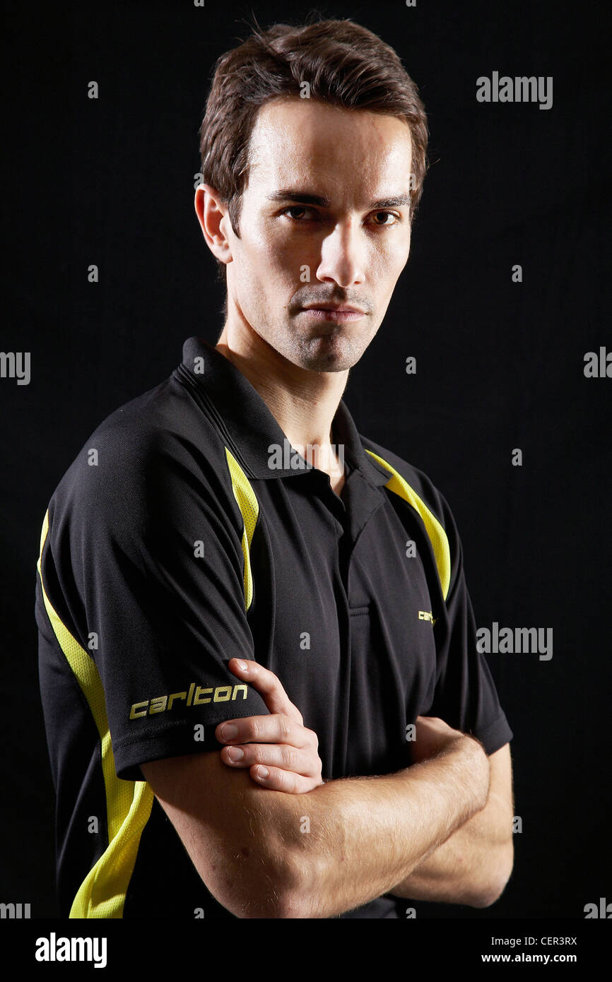 Portrait of Nathan Robertson, World champion badminton player. - Stock Image