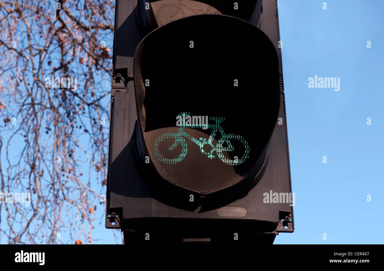 Bike Lane traffic signal showing Green for Go - Stock Image