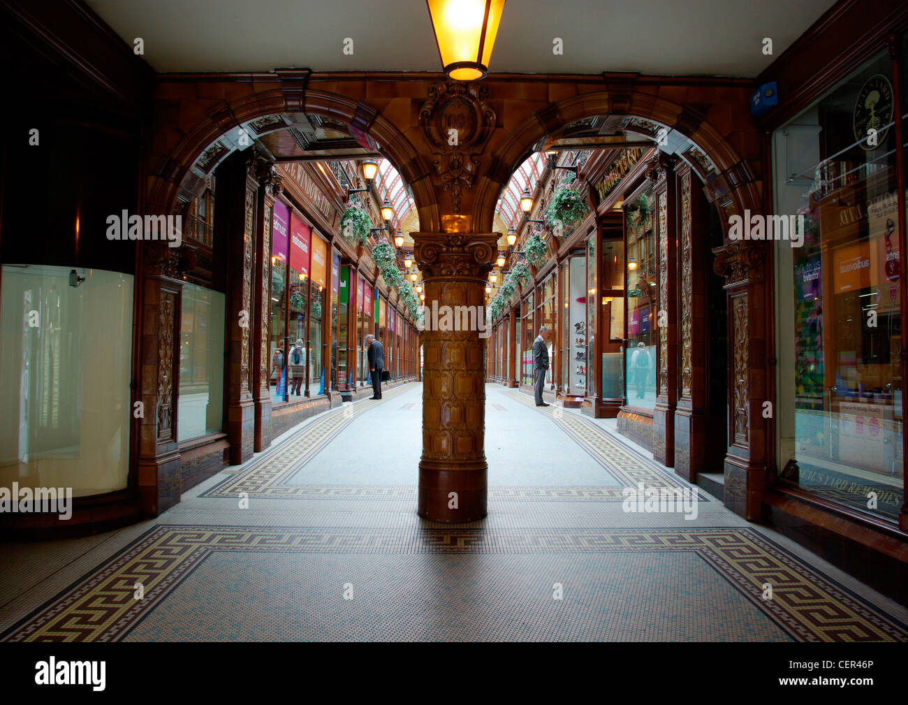 Two men window shopping in Central Arcade. Stock Photo