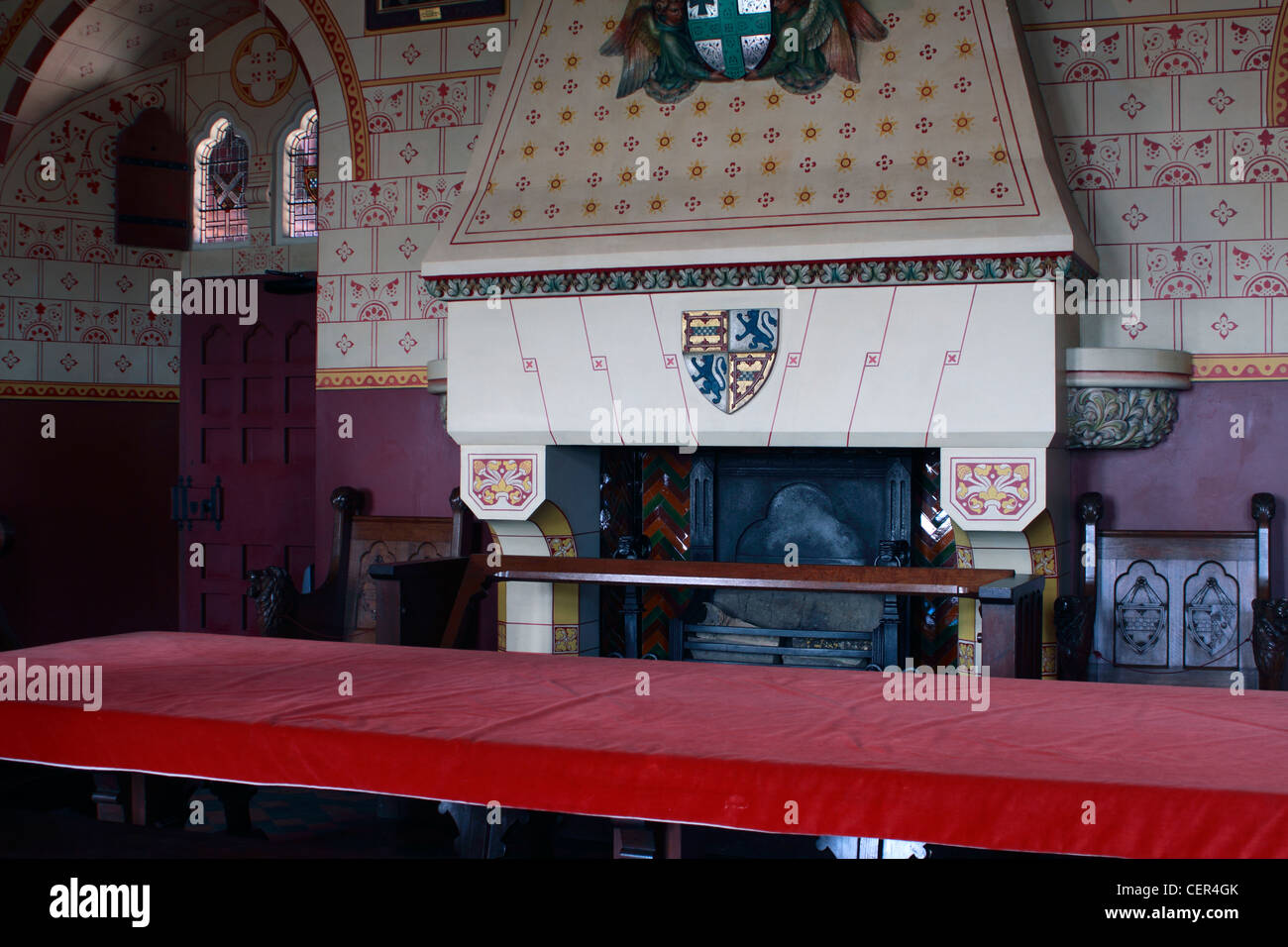 Dining room Castell Coch 19th century rebuild of a 13th Century castle outside Cardiff. Built in the 1870s, for - Stock Image