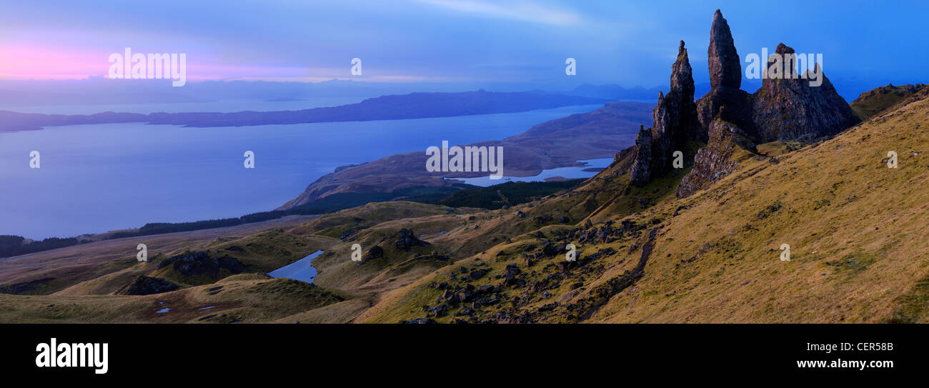 Panoramic view of the Old Man of Storr, dramatic pinnacles of rock remaining from ancient landslips on the Trotternish - Stock Image