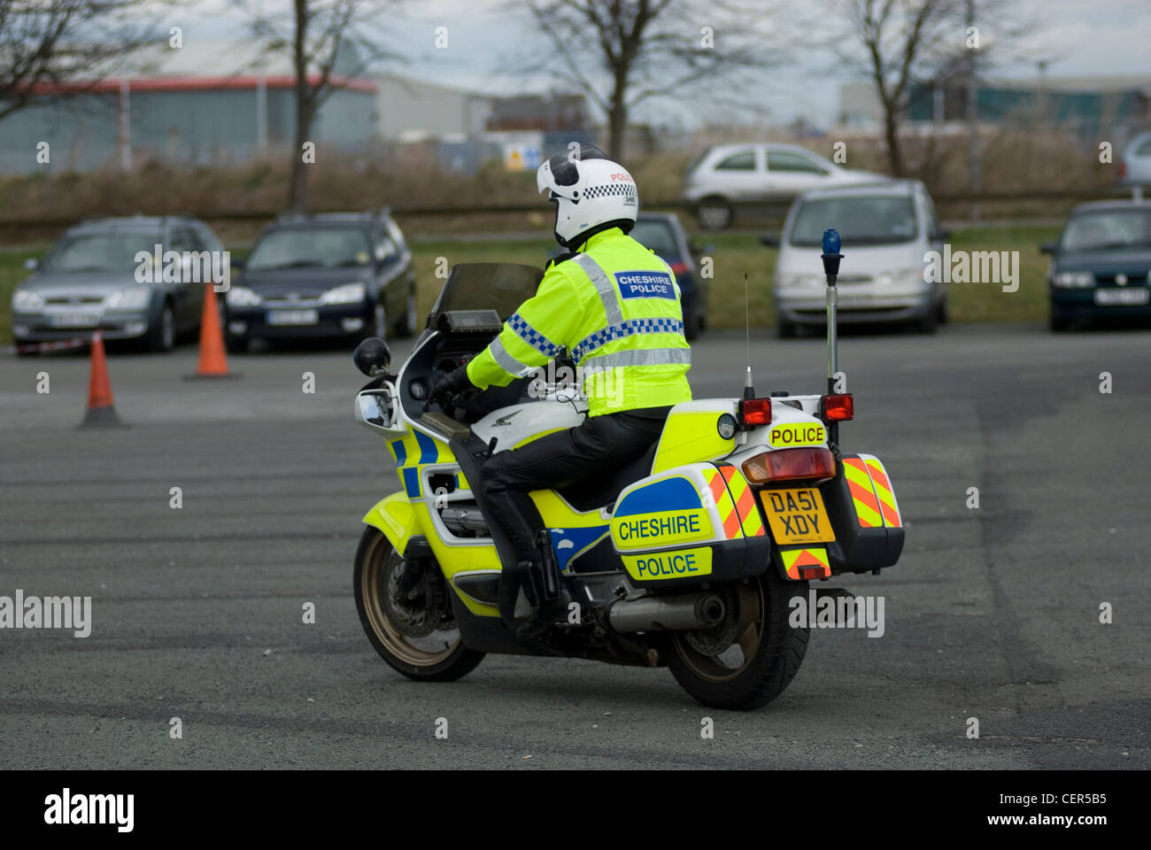 Uk motorcyle police at the scene of a civil disturbance - Stock Image