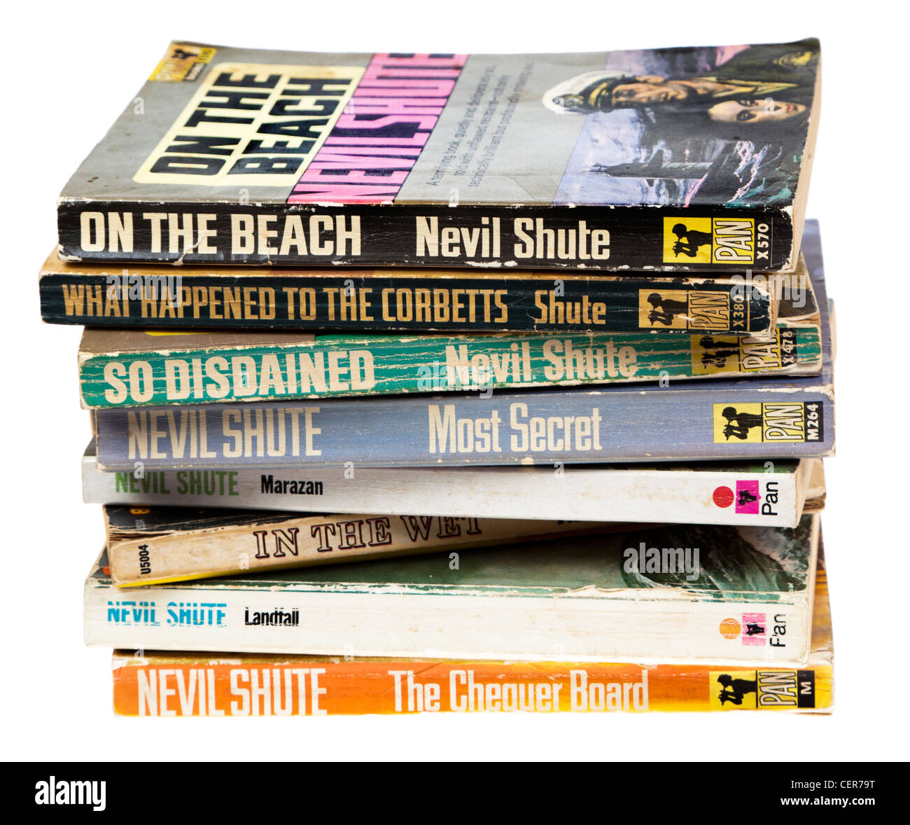 Paperback books by Nevil Shute most published by Pan - Stock Image