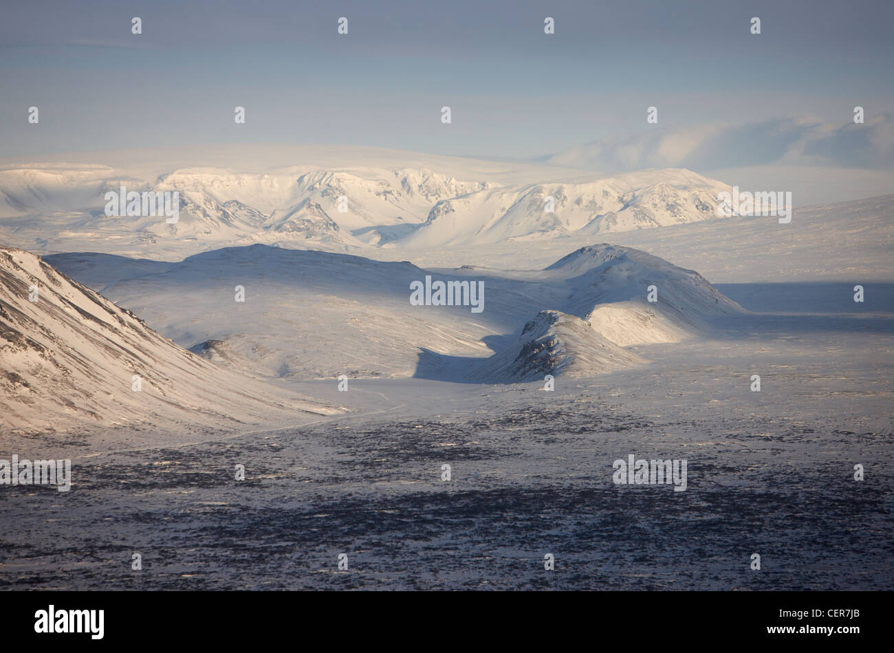 Aerial view of mountains,  Thingvellir National Park, Iceland - Stock Image