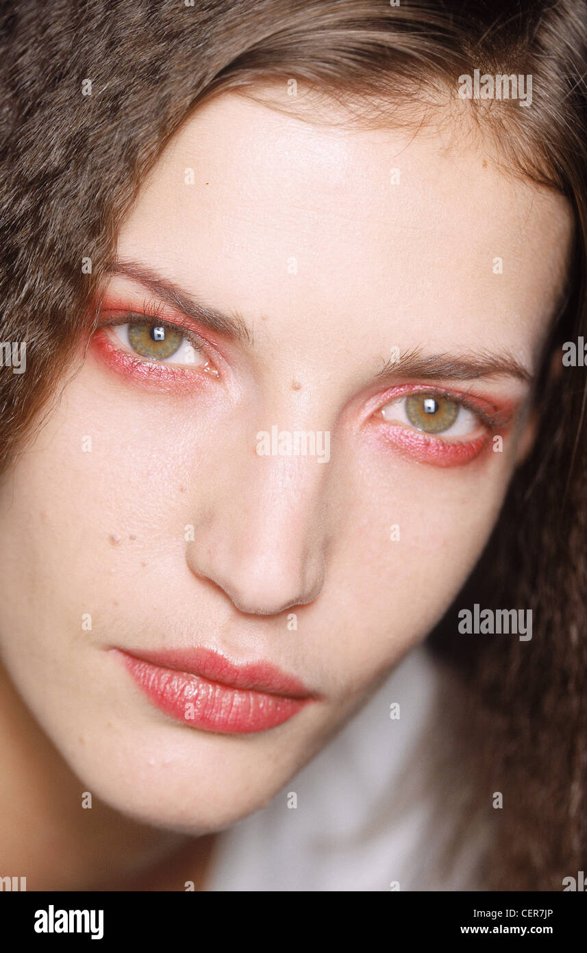Viktand Rolf Backstage Paris Ready to Wear Autumn Winter Red eyeshadow and matchig lipstick - Stock Image