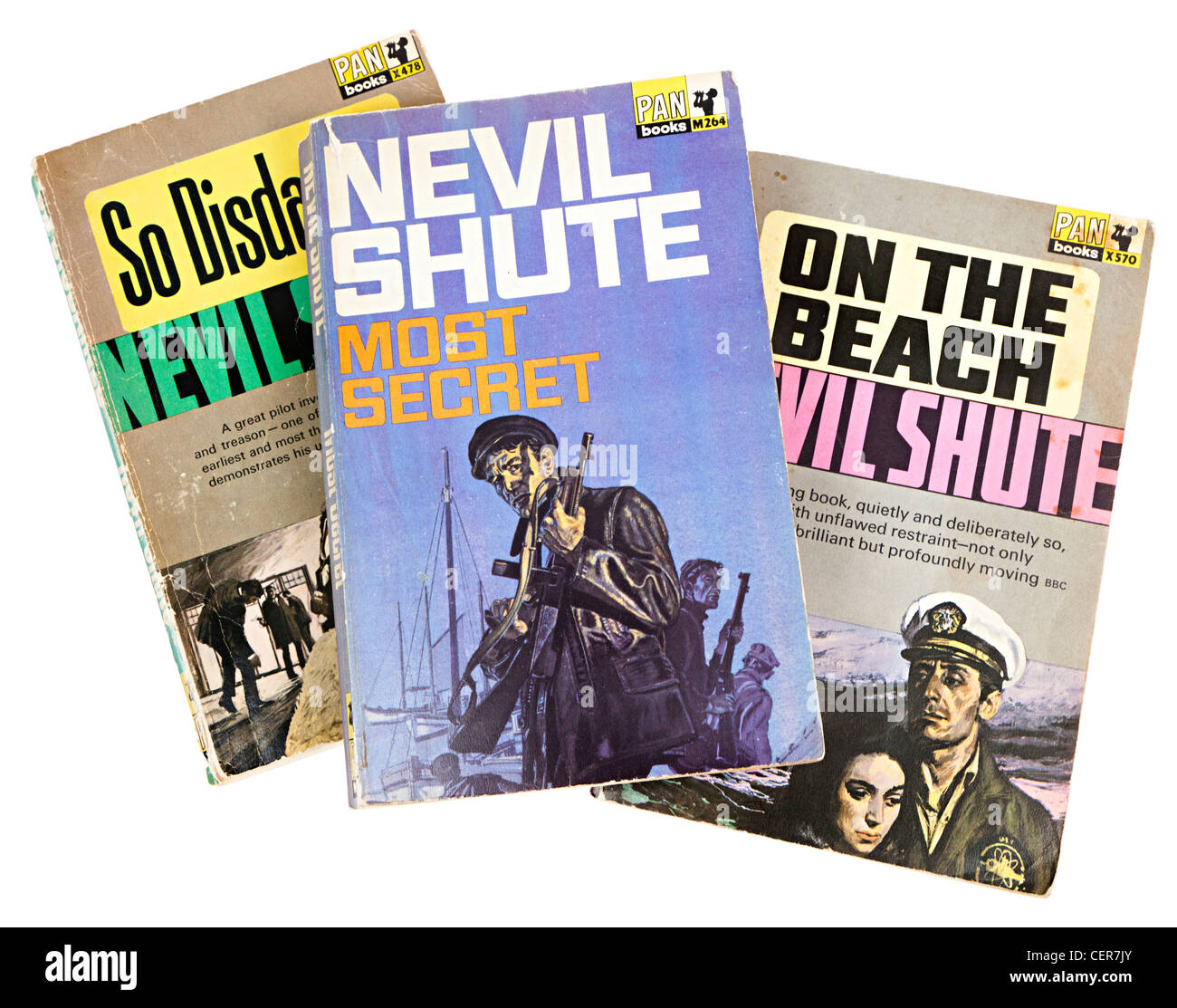 Paperback books by Nevil Shute published by Pan - Stock Image