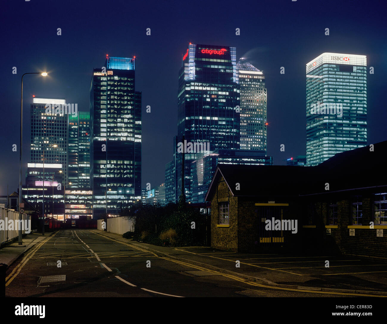 Docklands skyline office blocks at night from Greenwich. - Stock Image