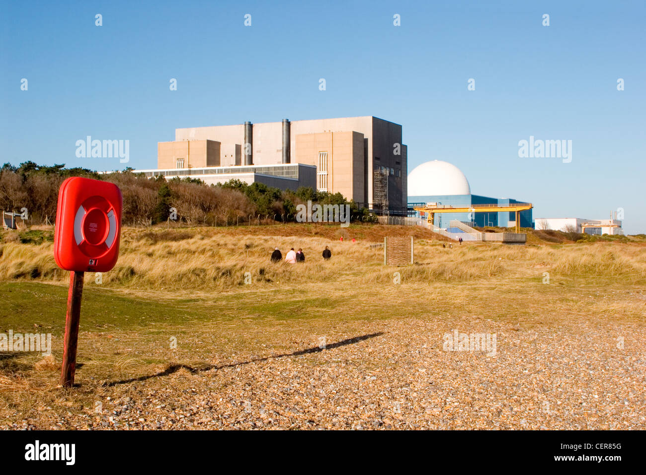 Sizewell nuclear power station and Sizewell beach in Suffolk. - Stock Image