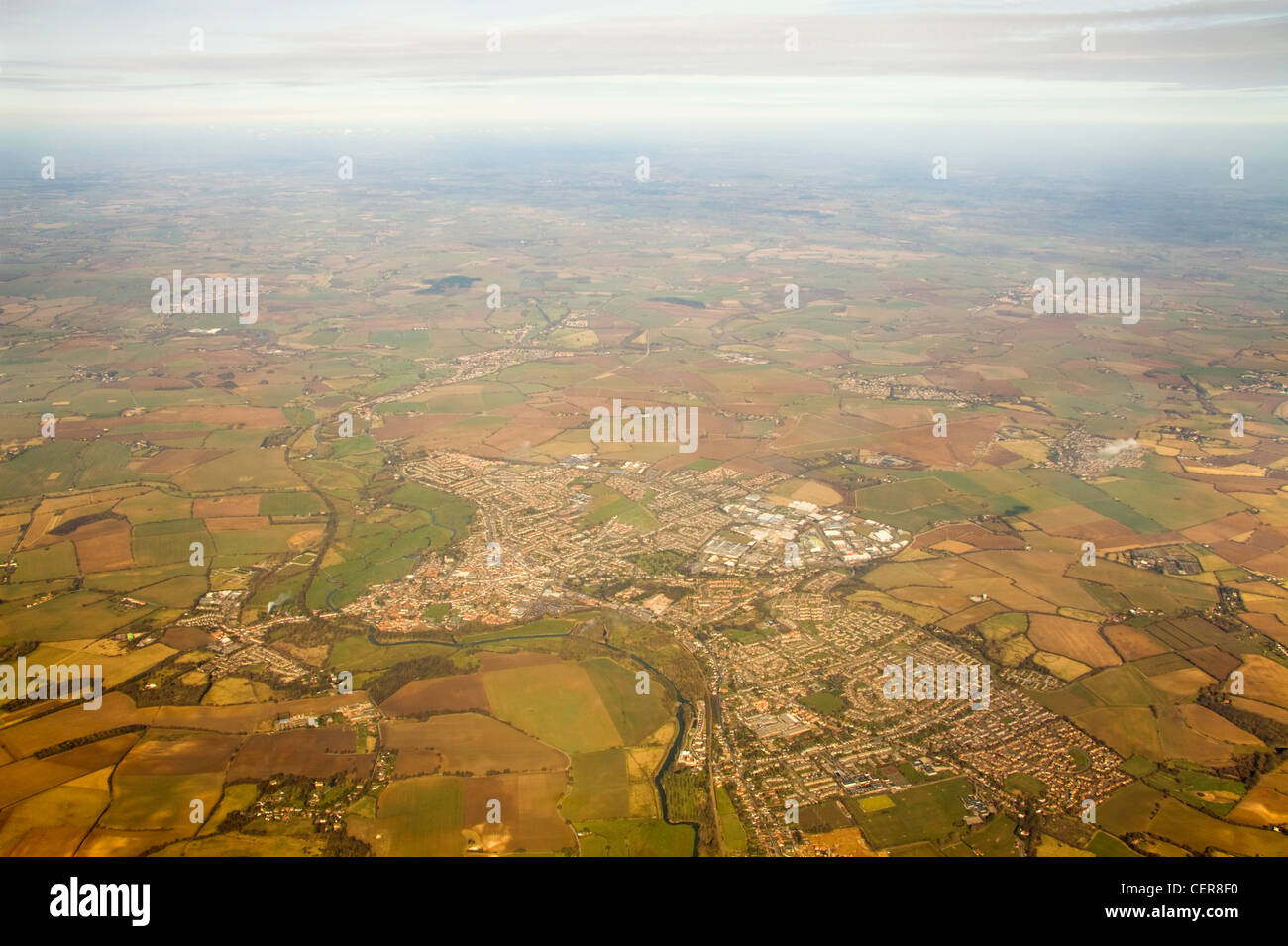 High altitude view from a plane over Essex from a plane. - Stock Image
