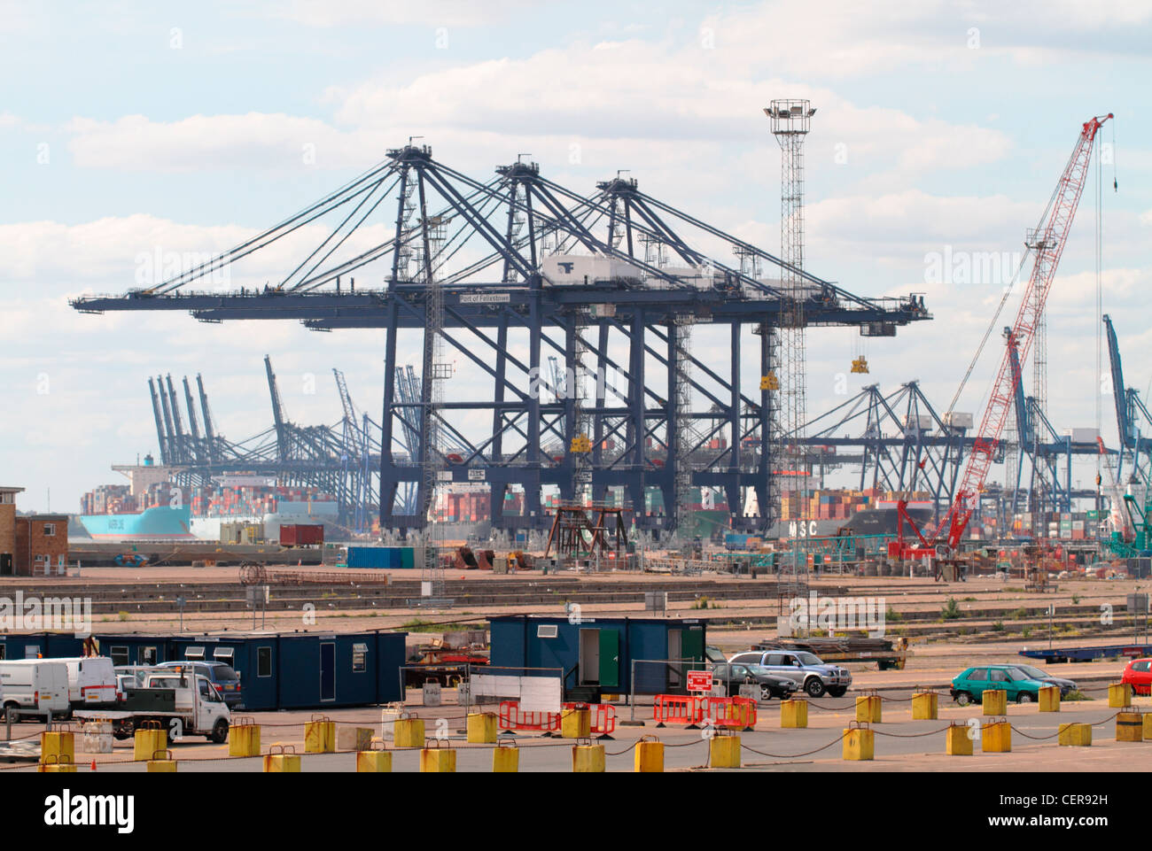 Gantry cranes at the Port of Felixstowe, the largest container port in the UK. - Stock Image