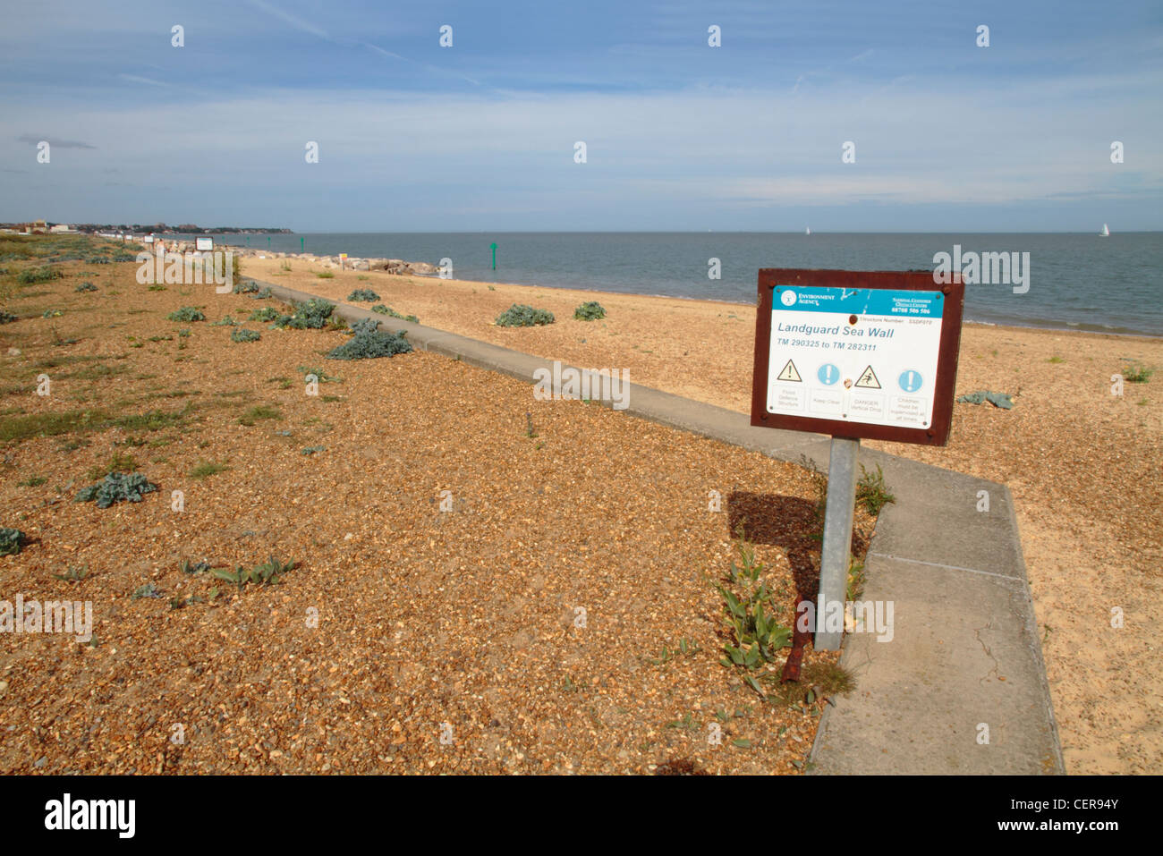 The sea wall and beach at Landguard Point, the most southerly part of Suffolk. - Stock Image