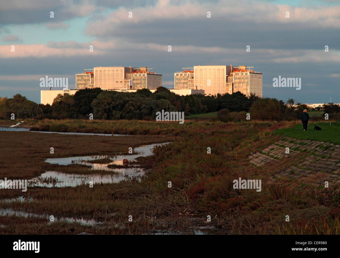 Bradwell nuclear power station, a disused Magnox power station located on the Dengie peninsula at the mouth of the - Stock Image