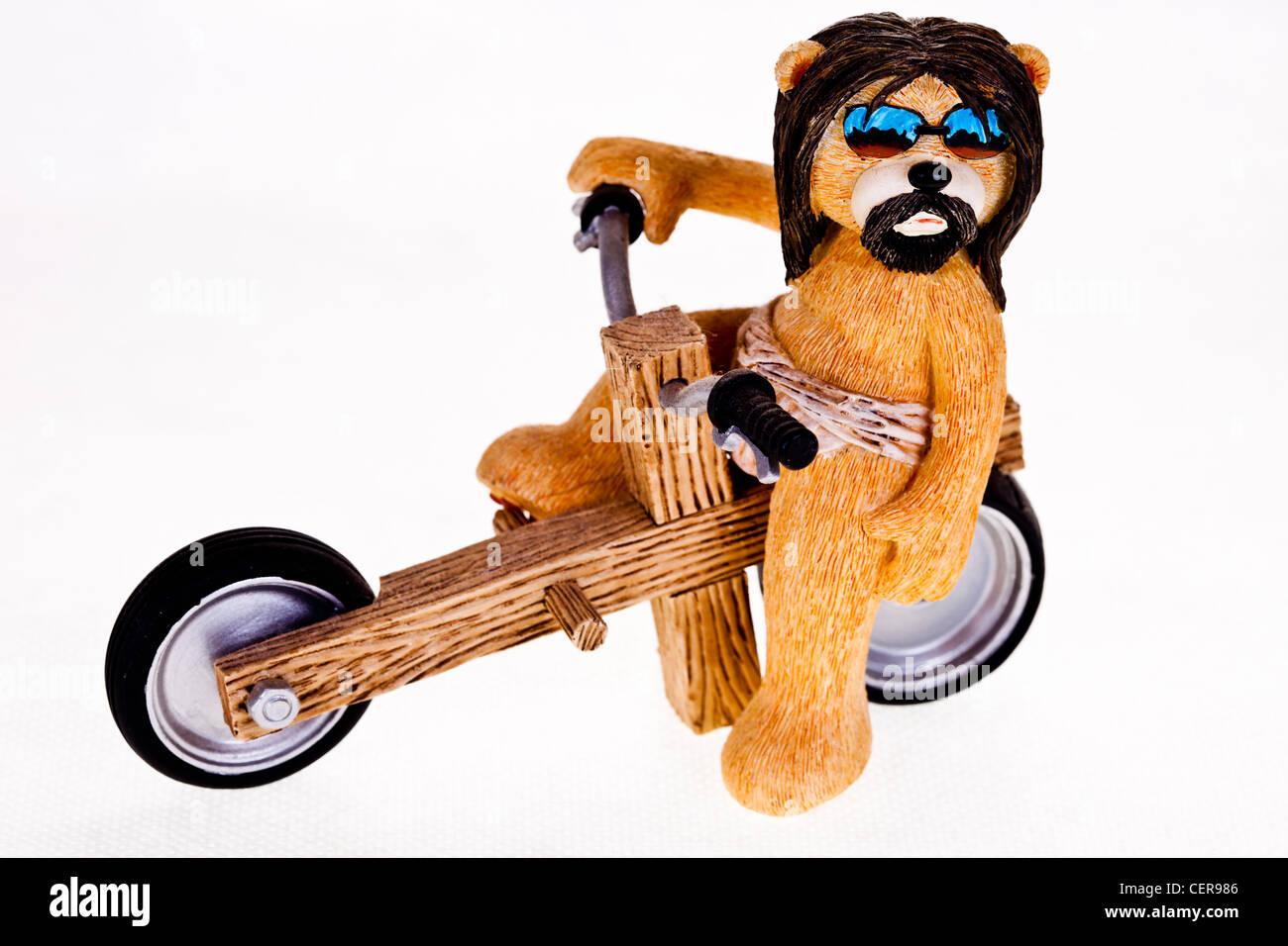 Harley David son of God,caricature of jesus as a biker,christian biker,bad taste bear,cool biker, - Stock Image