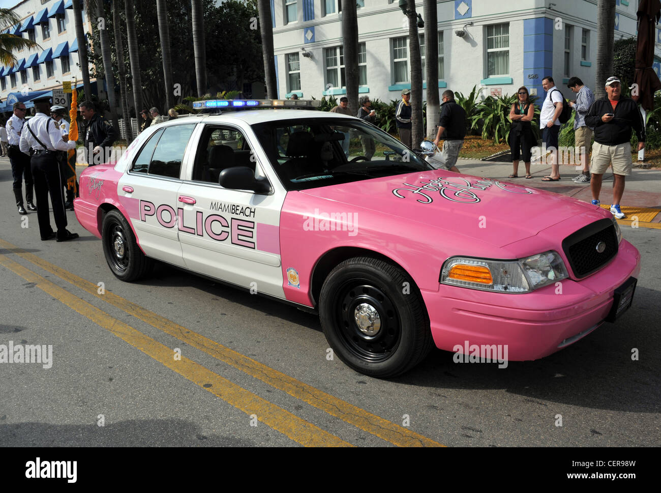 Pink police car, America, USA Stock Photo
